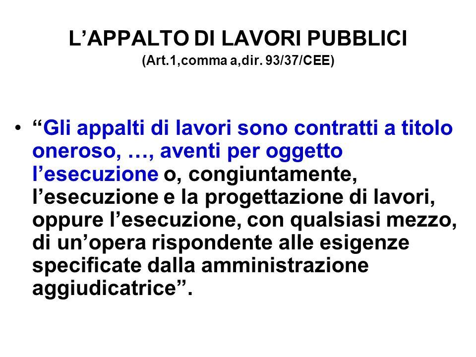 LAPPALTO DI LAVORI PUBBLICI (Art.1,comma a,dir.