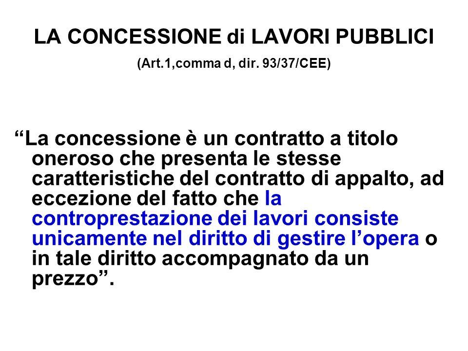 LA CONCESSIONE di LAVORI PUBBLICI (Art.1,comma d, dir.