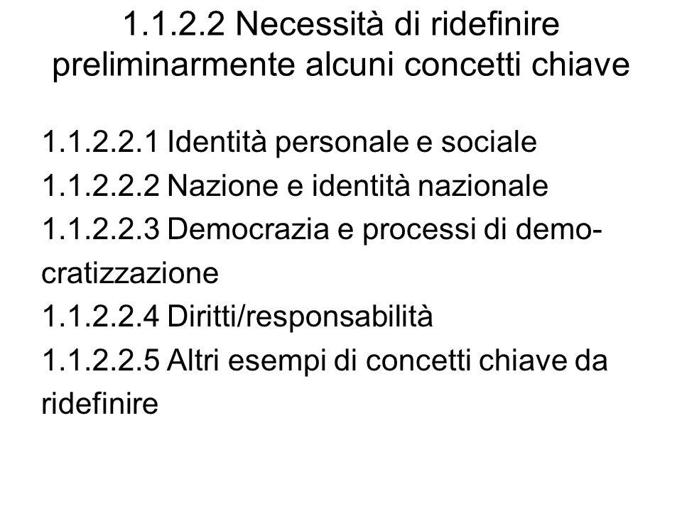 1.1.2.2 Necessità di ridefinire preliminarmente alcuni concetti chiave 1.1.2.2.1 Identità personale e sociale 1.1.2.2.2 Nazione e identità nazionale 1.1.2.2.3 Democrazia e processi di demo- cratizzazione 1.1.2.2.4 Diritti/responsabilità 1.1.2.2.5 Altri esempi di concetti chiave da ridefinire