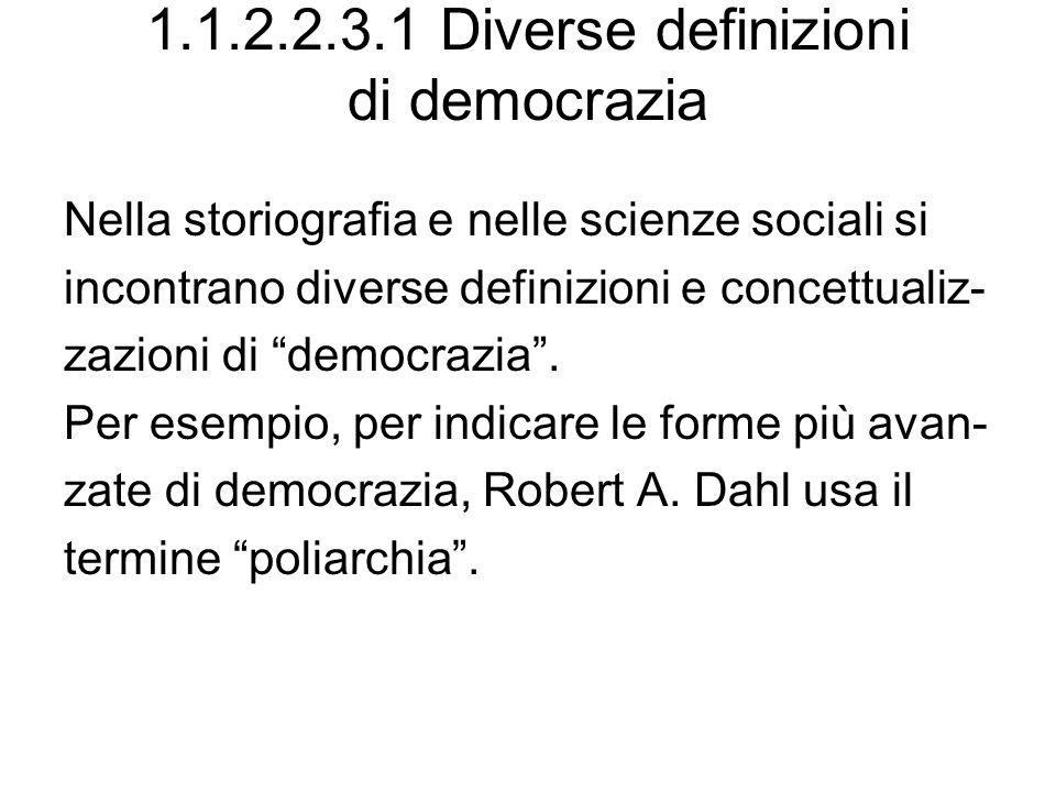 1.1.2.2.3.1 Diverse definizioni di democrazia Nella storiografia e nelle scienze sociali si incontrano diverse definizioni e concettualiz- zazioni di democrazia.