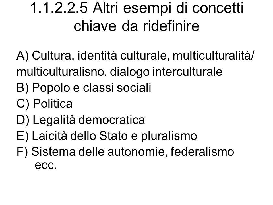 1.1.2.2.5 Altri esempi di concetti chiave da ridefinire A) Cultura, identità culturale, multiculturalità/ multiculturalisno, dialogo interculturale B)