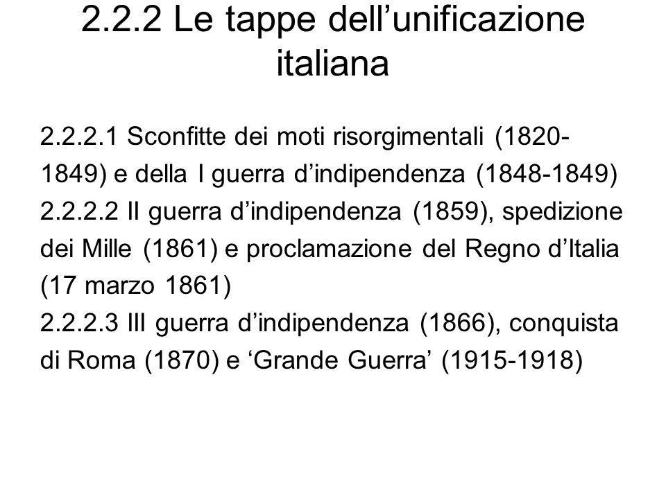 2.2.2 Le tappe dellunificazione italiana 2.2.2.1 Sconfitte dei moti risorgimentali (1820- 1849) e della I guerra dindipendenza (1848-1849) 2.2.2.2 II guerra dindipendenza (1859), spedizione dei Mille (1861) e proclamazione del Regno dItalia (17 marzo 1861) 2.2.2.3 III guerra dindipendenza (1866), conquista di Roma (1870) e Grande Guerra (1915-1918)