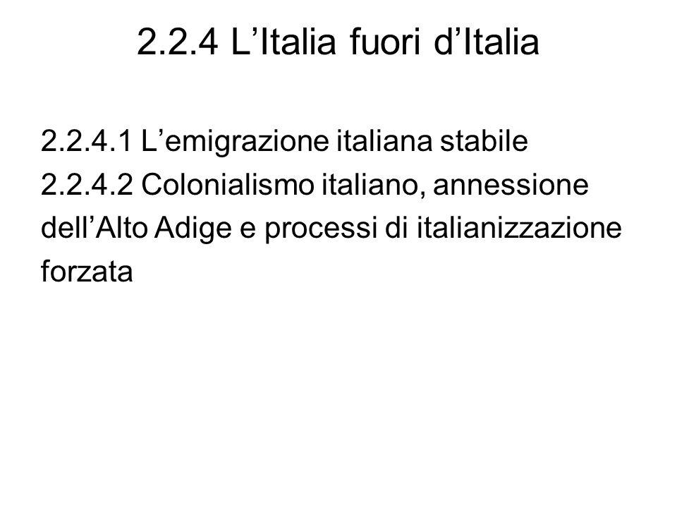 2.2.4 LItalia fuori dItalia 2.2.4.1 Lemigrazione italiana stabile 2.2.4.2 Colonialismo italiano, annessione dellAlto Adige e processi di italianizzazi