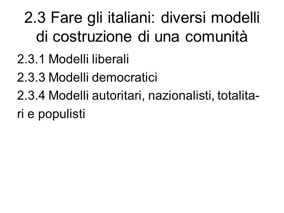 2.3 Fare gli italiani: diversi modelli di costruzione di una comunità 2.3.1 Modelli liberali 2.3.3 Modelli democratici 2.3.4 Modelli autoritari, nazionalisti, totalita- ri e populisti