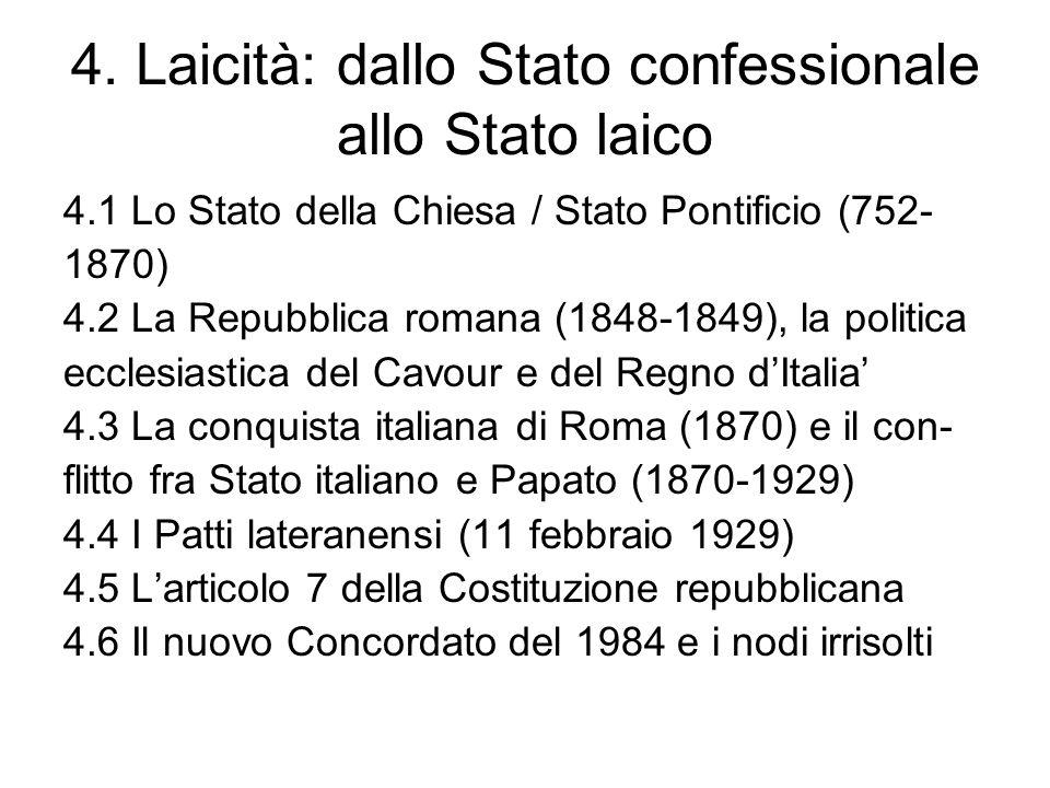 4. Laicità: dallo Stato confessionale allo Stato laico 4.1 Lo Stato della Chiesa / Stato Pontificio (752- 1870) 4.2 La Repubblica romana (1848-1849),