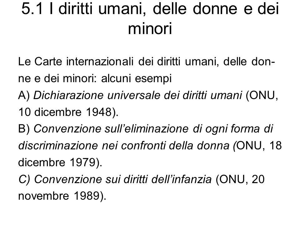 5.1 I diritti umani, delle donne e dei minori Le Carte internazionali dei diritti umani, delle don- ne e dei minori: alcuni esempi A) Dichiarazione universale dei diritti umani (ONU, 10 dicembre 1948).