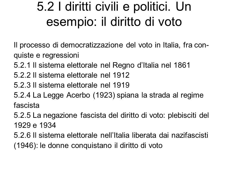 5.2 I diritti civili e politici. Un esempio: il diritto di voto Il processo di democratizzazione del voto in Italia, fra con- quiste e regressioni 5.2
