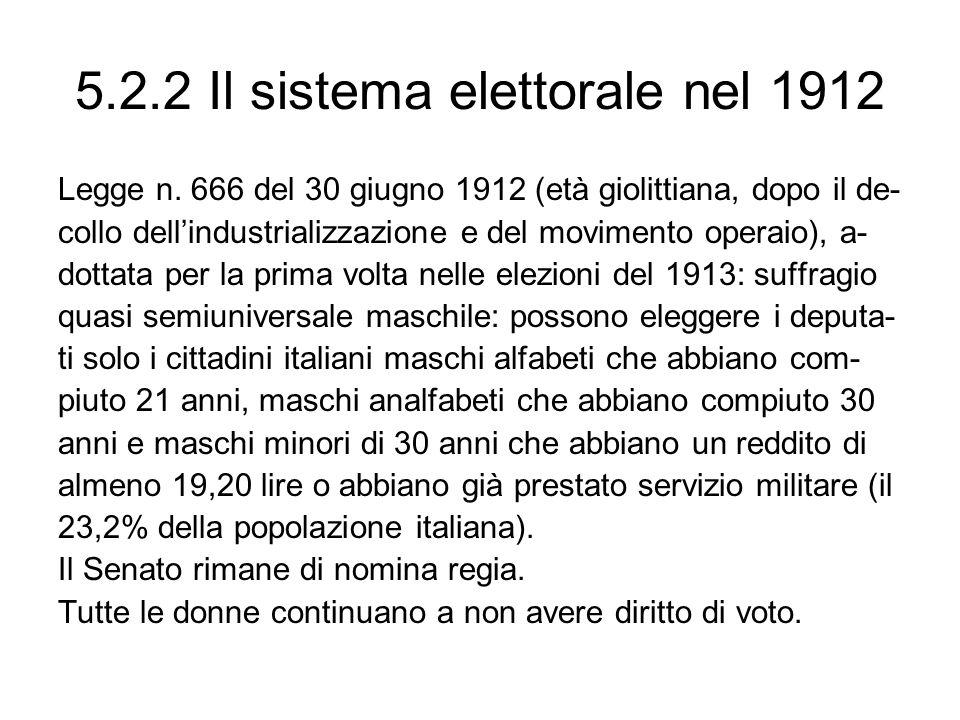 5.2.2 Il sistema elettorale nel 1912 Legge n.