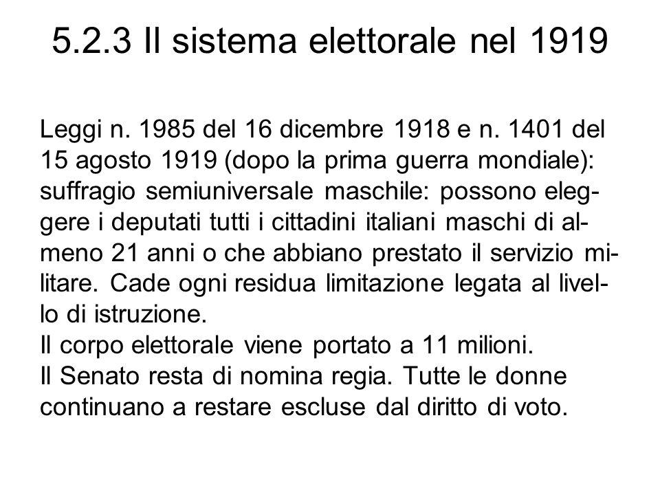 5.2.3 Il sistema elettorale nel 1919 Leggi n. 1985 del 16 dicembre 1918 e n. 1401 del 15 agosto 1919 (dopo la prima guerra mondiale): suffragio semiun