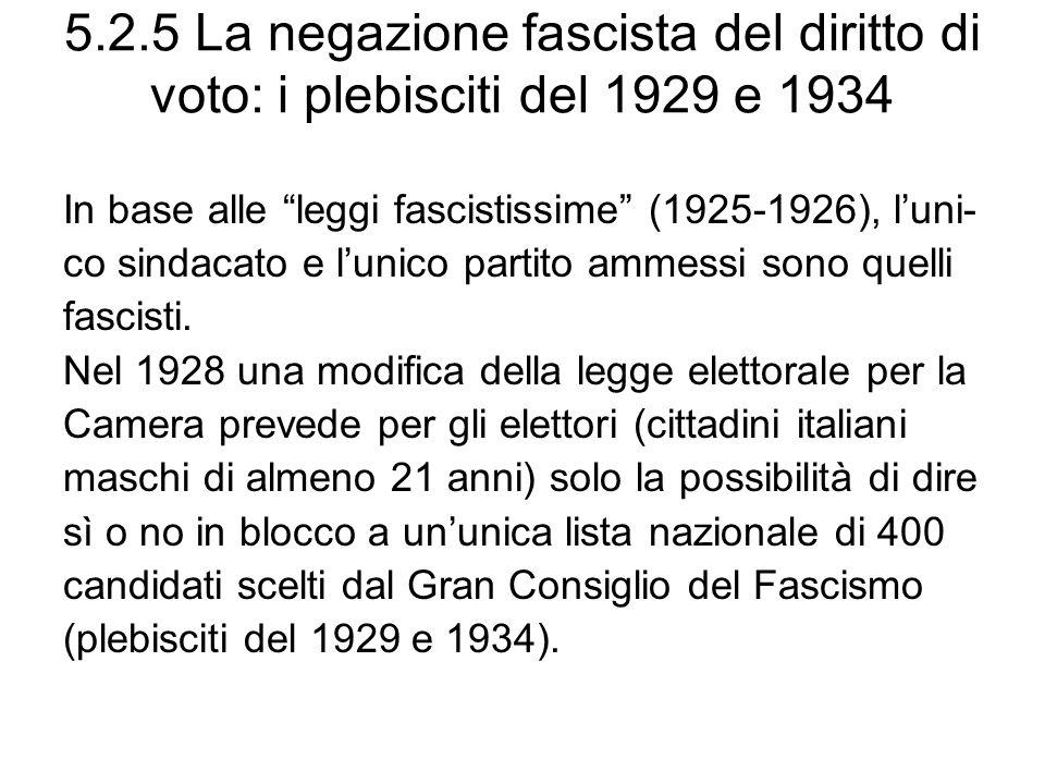 5.2.5 La negazione fascista del diritto di voto: i plebisciti del 1929 e 1934 In base alle leggi fascistissime (1925-1926), luni- co sindacato e lunico partito ammessi sono quelli fascisti.