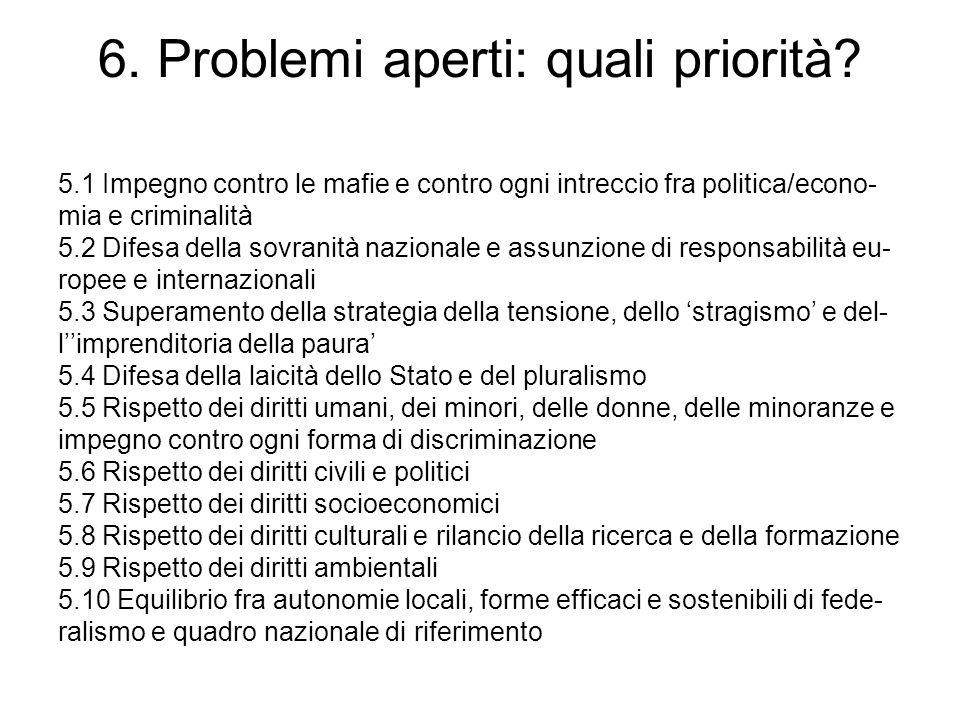 6. Problemi aperti: quali priorità? 5.1 Impegno contro le mafie e contro ogni intreccio fra politica/econo- mia e criminalità 5.2 Difesa della sovrani