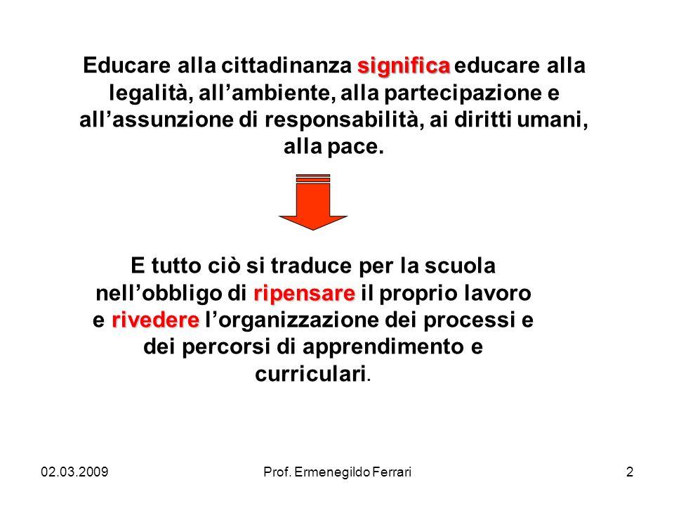 02.03.20092Prof. Ermenegildo Ferrari significa Educare alla cittadinanza significa educare alla legalità, allambiente, alla partecipazione e allassunz