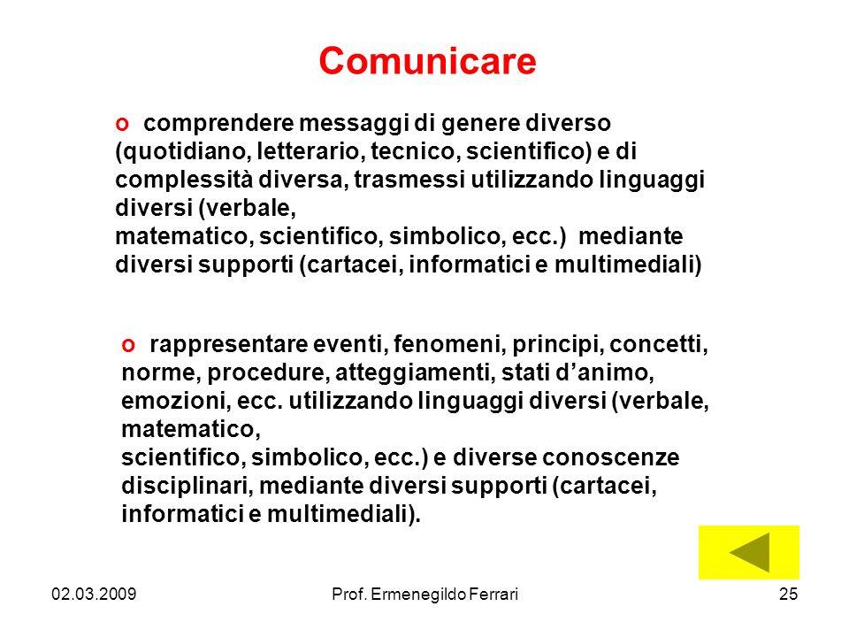 02.03.200925Prof. Ermenegildo Ferrari Comunicare o comprendere messaggi di genere diverso (quotidiano, letterario, tecnico, scientifico) e di compless
