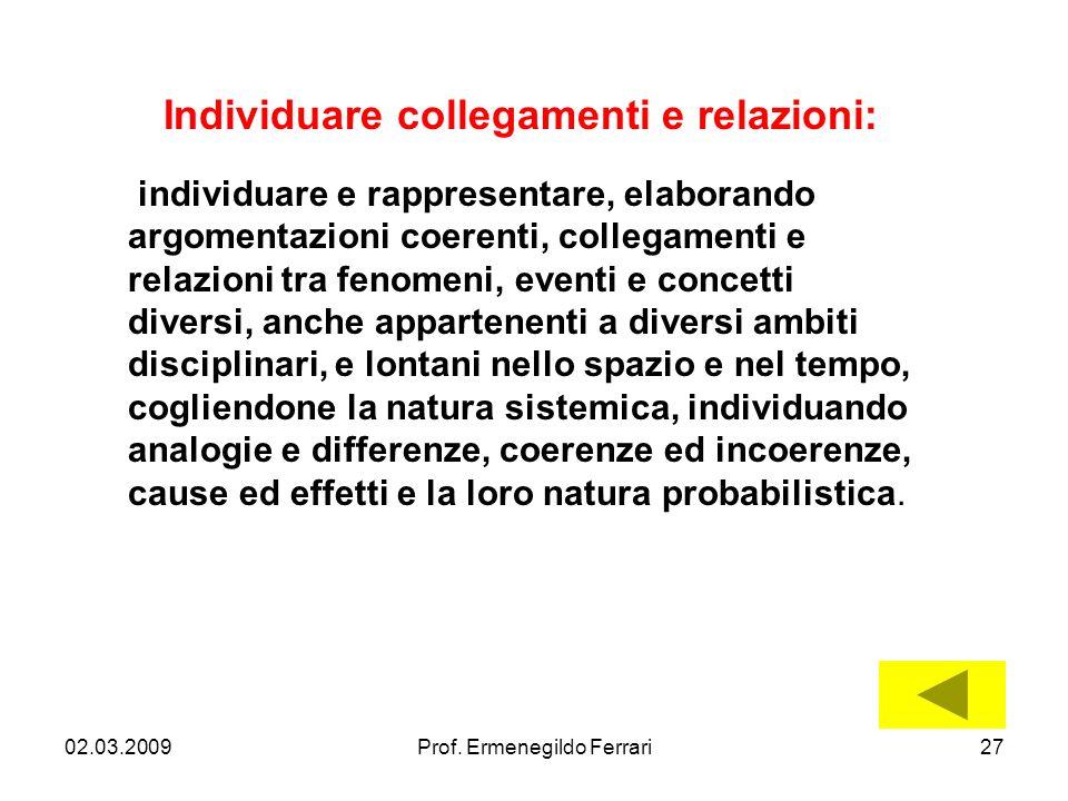 02.03.200927Prof. Ermenegildo Ferrari Individuare collegamenti e relazioni: individuare e rappresentare, elaborando argomentazioni coerenti, collegame