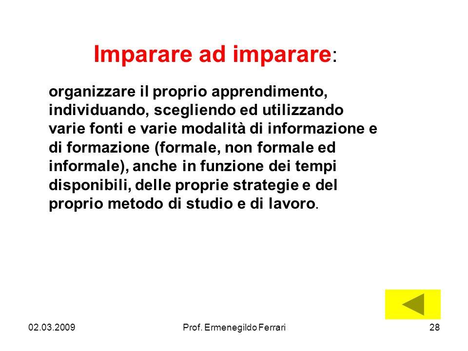 02.03.200928Prof. Ermenegildo Ferrari Imparare ad imparare : organizzare il proprio apprendimento, individuando, scegliendo ed utilizzando varie fonti