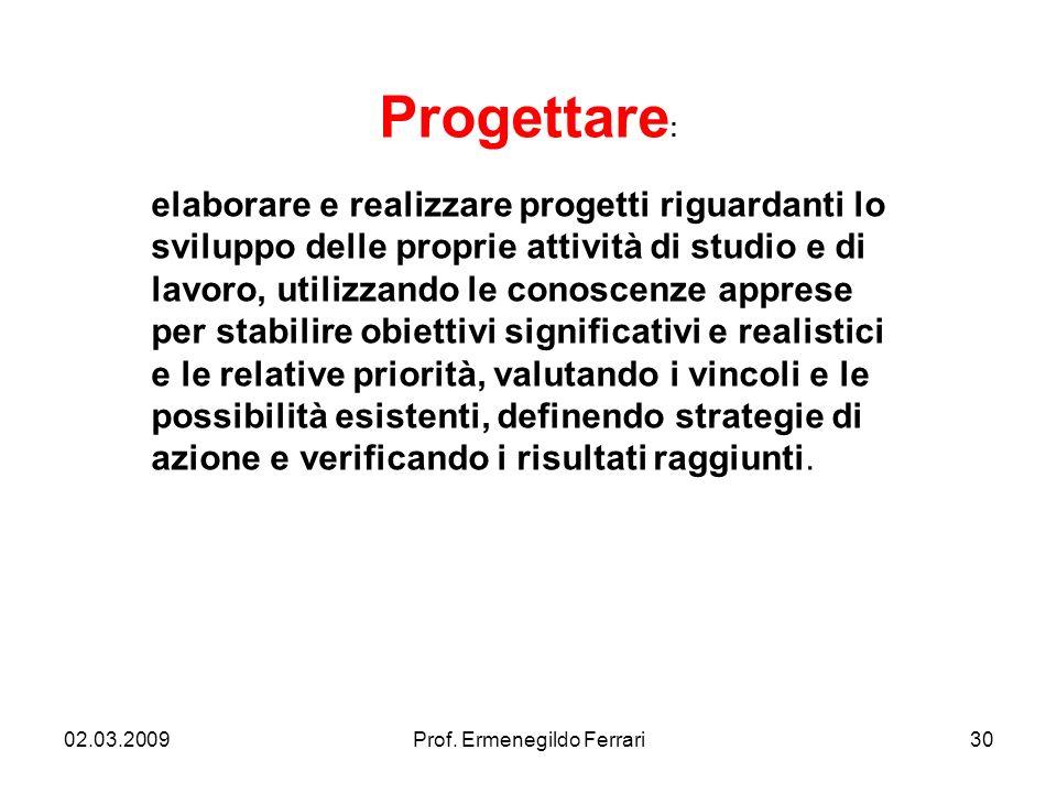 02.03.200930Prof. Ermenegildo Ferrari Progettare : elaborare e realizzare progetti riguardanti lo sviluppo delle proprie attività di studio e di lavor