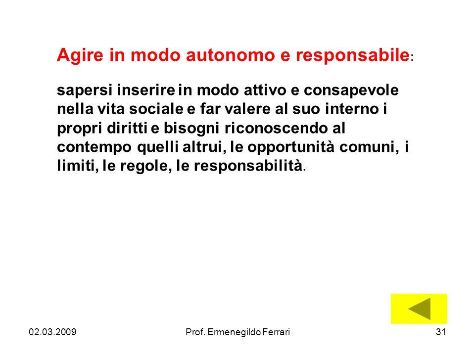 02.03.200931Prof. Ermenegildo Ferrari Agire in modo autonomo e responsabile : sapersi inserire in modo attivo e consapevole nella vita sociale e far v