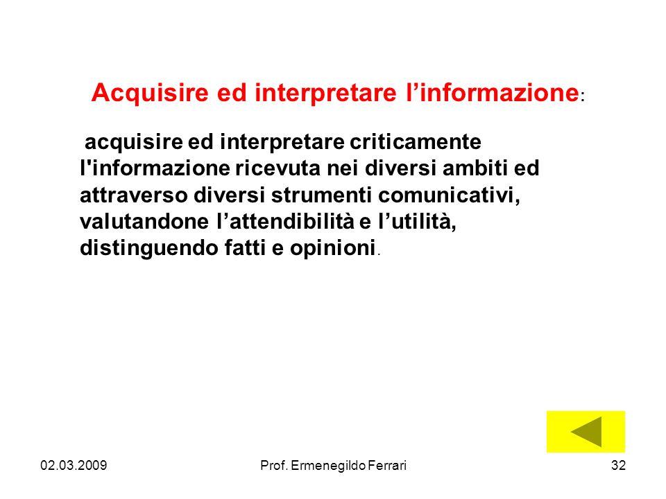 02.03.200932Prof. Ermenegildo Ferrari Acquisire ed interpretare linformazione : acquisire ed interpretare criticamente l'informazione ricevuta nei div