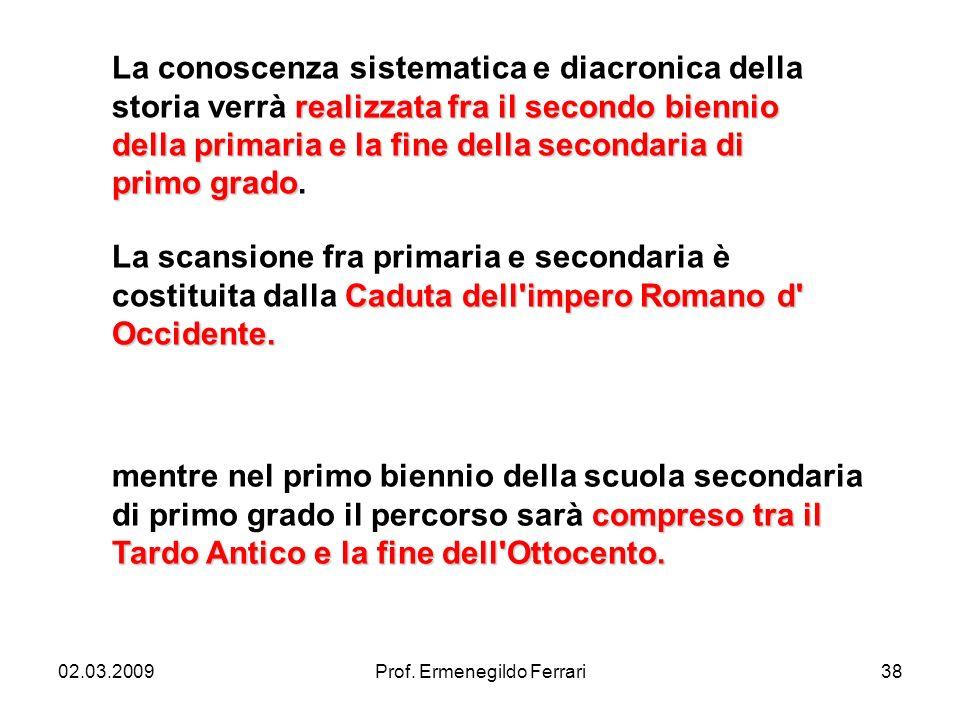 02.03.2009Prof. Ermenegildo Ferrari38 realizzata fra il secondo biennio della primaria e la fine della secondaria di primo grado La conoscenza sistema
