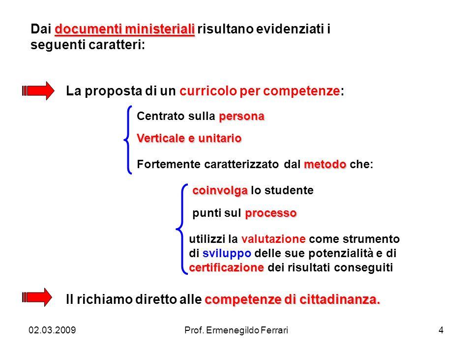 02.03.2009Prof. Ermenegildo Ferrari4 documenti ministeriali Dai documenti ministeriali risultano evidenziati i seguenti caratteri: La proposta di un c