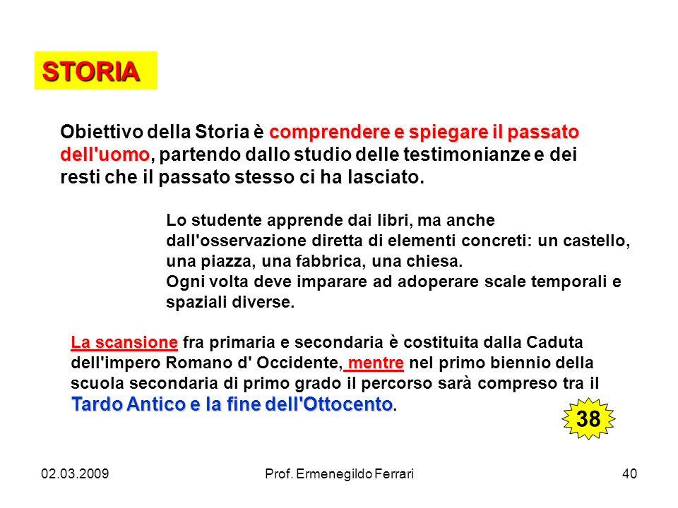02.03.2009Prof. Ermenegildo Ferrari40 STORIA comprendere e spiegare il passato dell'uomo Obiettivo della Storia è comprendere e spiegare il passato de