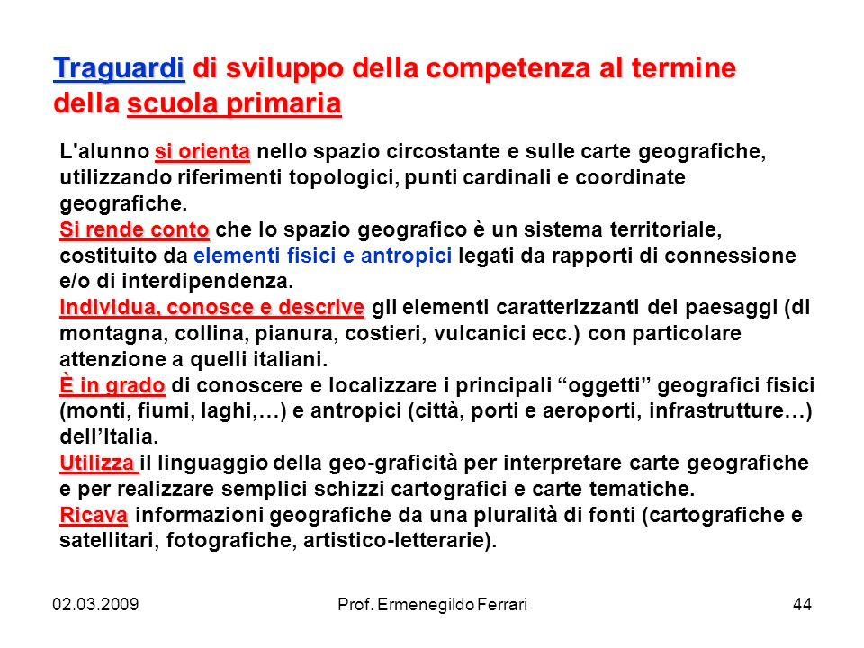 02.03.2009Prof. Ermenegildo Ferrari44 Traguardi di sviluppo della competenza al termine della scuola primaria si orienta L'alunno si orienta nello spa