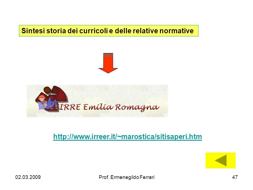 02.03.2009Prof. Ermenegildo Ferrari47 Sintesi storia dei curricoli e delle relative normative http://www.irreer.it/~marostica/sitisaperi.htm