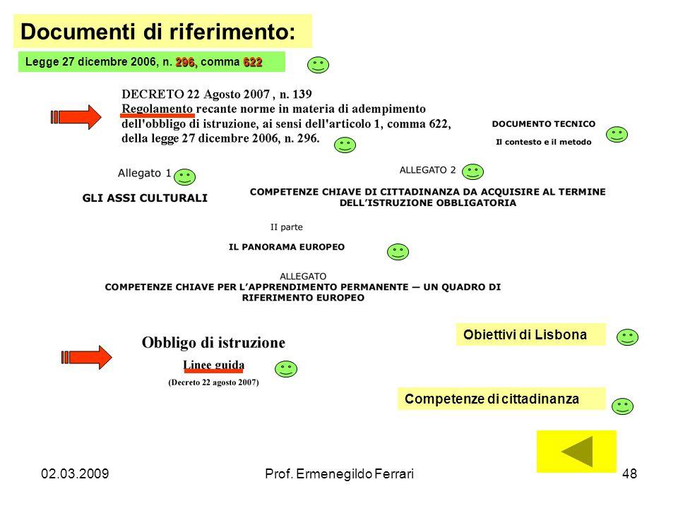 02.03.2009Prof. Ermenegildo Ferrari48 Documenti di riferimento: 296,622 Legge 27 dicembre 2006, n. 296, comma 622 Obiettivi di Lisbona Competenze di c