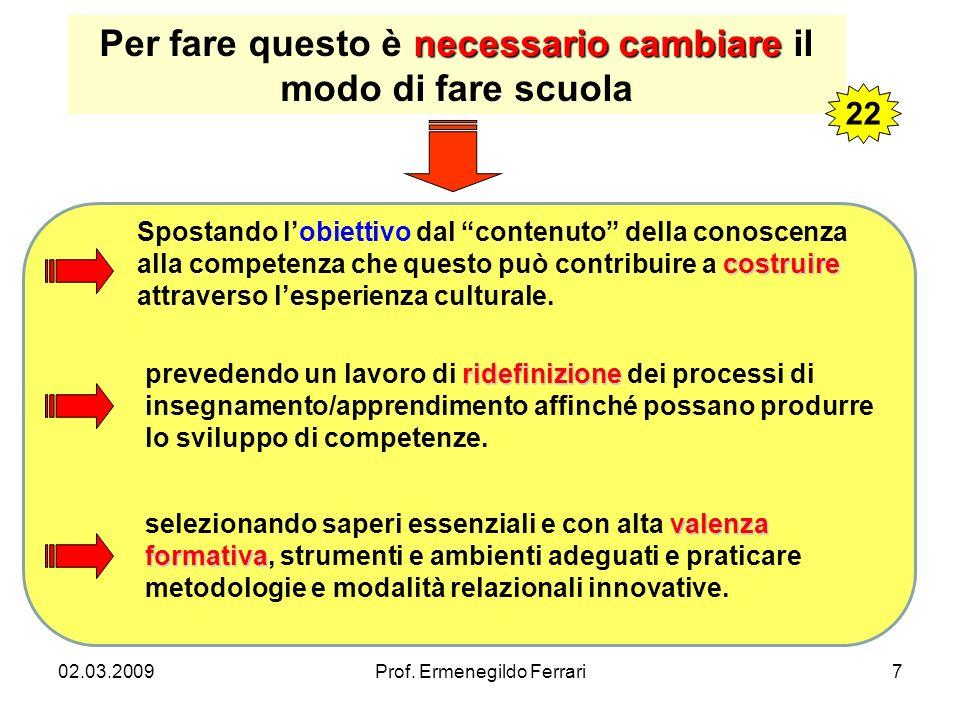 02.03.2009Prof. Ermenegildo Ferrari7 ridefinizione prevedendo un lavoro di ridefinizione dei processi di insegnamento/apprendimento affinché possano p