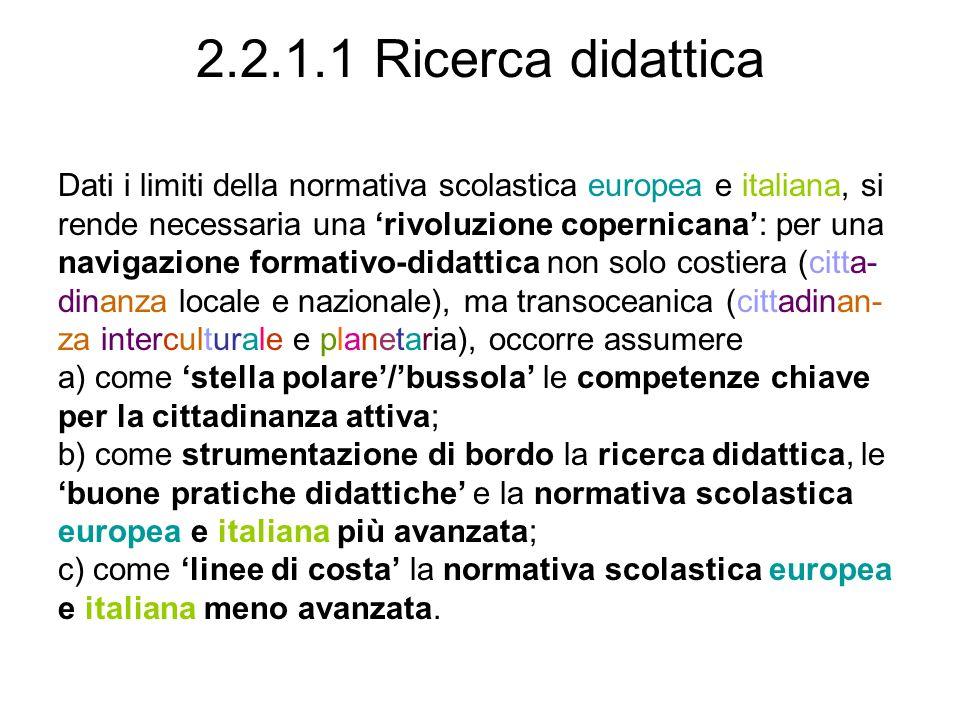 2.2.1.1 Ricerca didattica Dati i limiti della normativa scolastica europea e italiana, si rende necessaria una rivoluzione copernicana: per una naviga