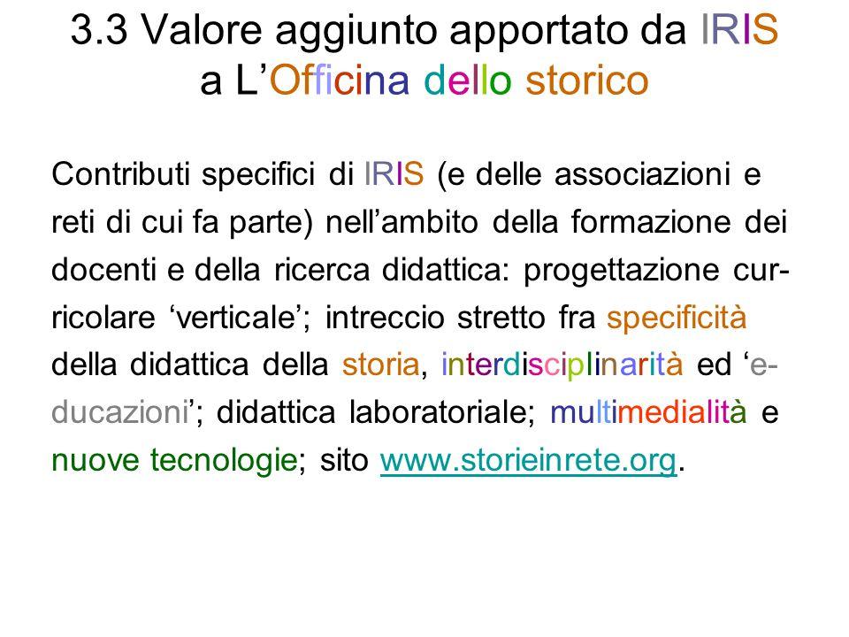 3.3 Valore aggiunto apportato da IRIS a LOfficina dello storico Contributi specifici di IRIS (e delle associazioni e reti di cui fa parte) nellambito
