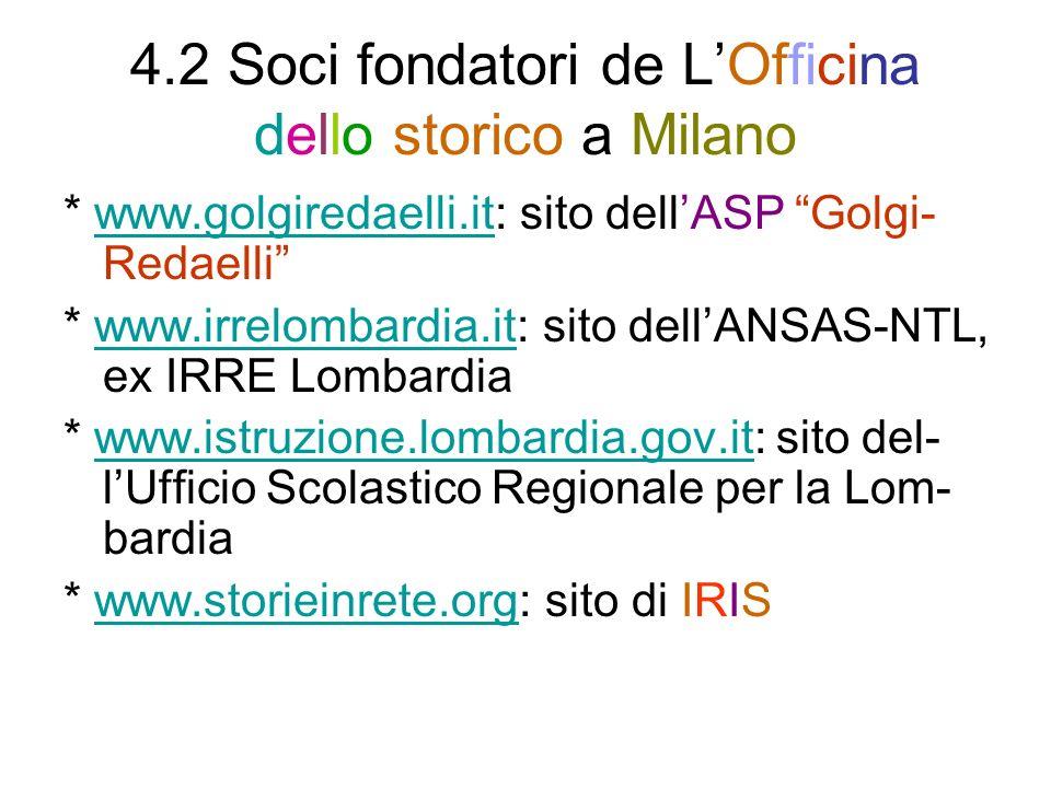 4.2 Soci fondatori de LOfficina dello storico a Milano * www.golgiredaelli.it: sito dellASP Golgi- Redaelliwww.golgiredaelli.it * www.irrelombardia.it