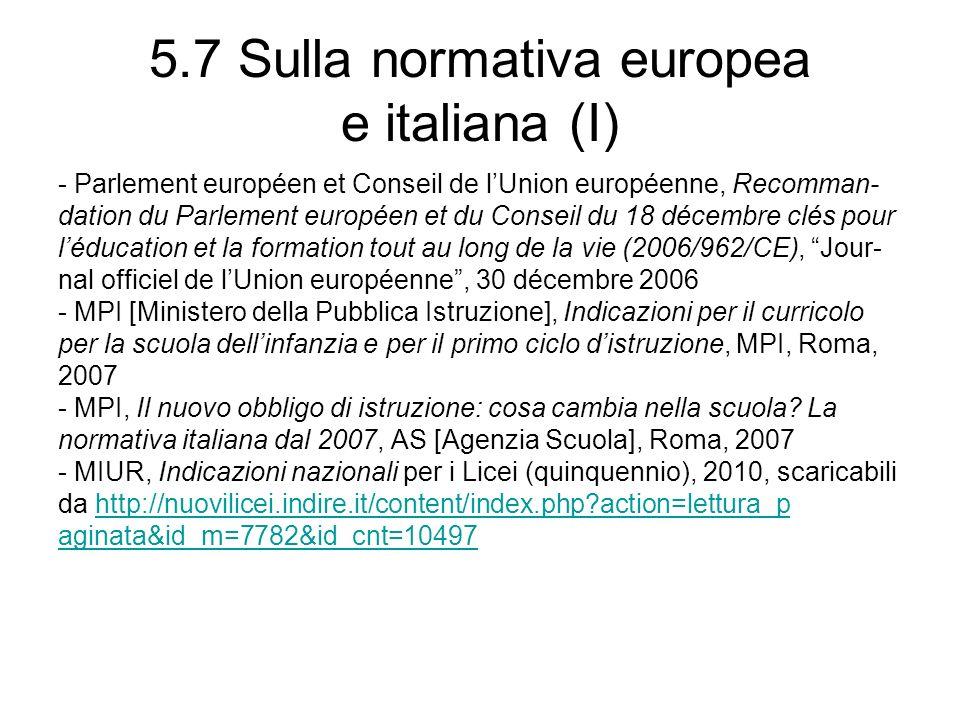 5.7 Sulla normativa europea e italiana (I) - Parlement européen et Conseil de lUnion européenne, Recomman- dation du Parlement européen et du Conseil