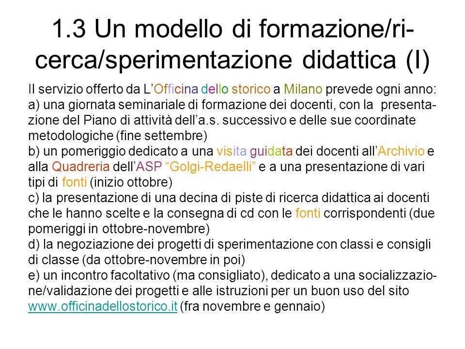 1.3 Un modello di formazione/ri- cerca/sperimentazione didattica (I) Il servizio offerto da LOfficina dello storico a Milano prevede ogni anno: a) una