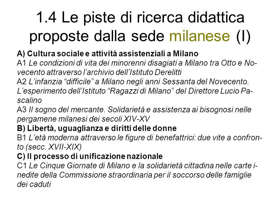 1.4 Le piste di ricerca didattica proposte dalla sede milanese (I) A) Cultura sociale e attività assistenziali a Milano A1 Le condizioni di vita dei m