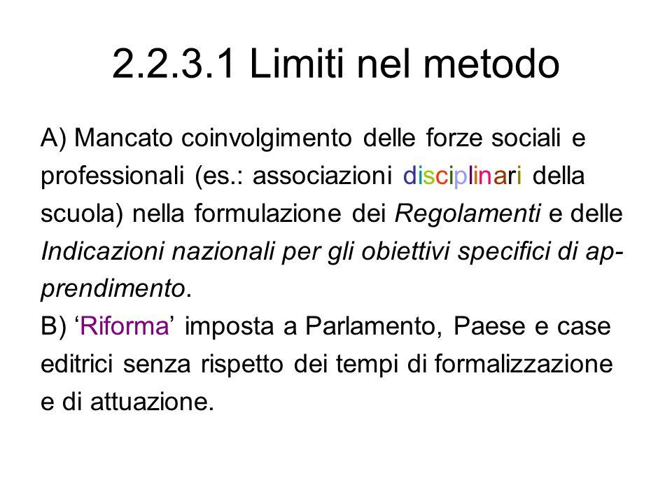 2.2.3.1 Limiti nel metodo A) Mancato coinvolgimento delle forze sociali e professionali (es.: associazioni disciplinari della scuola) nella formulazio