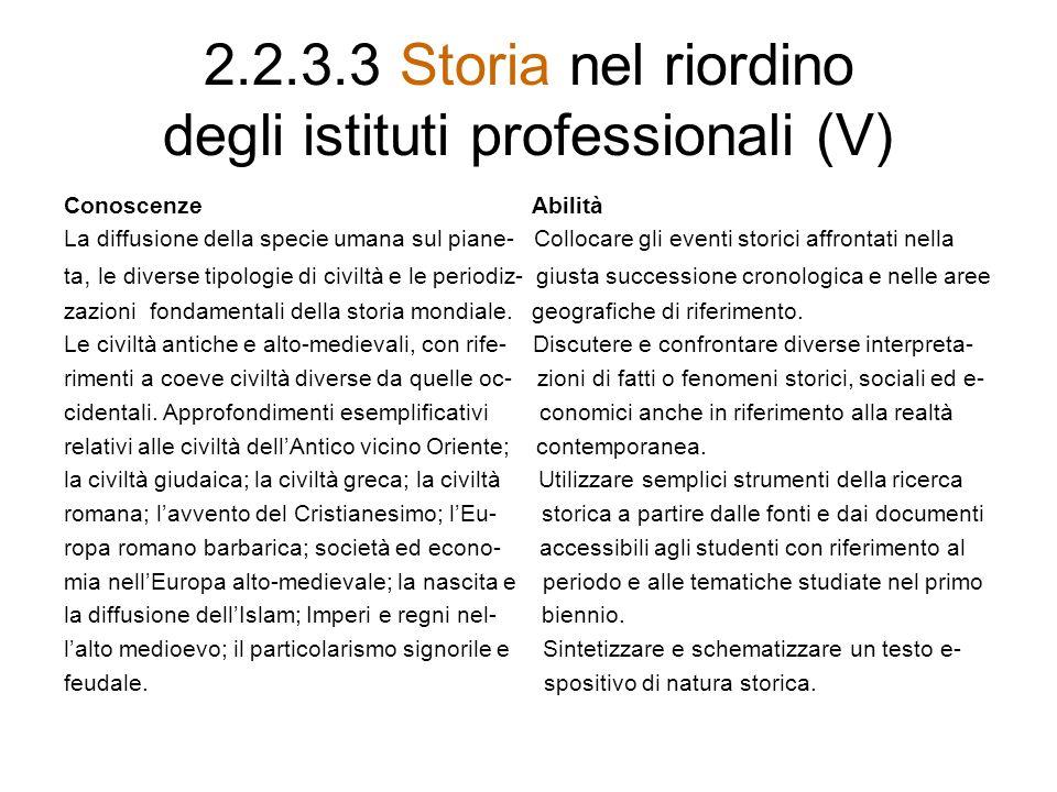 2.2.3.3 Storia nel riordino degli istituti professionali (V) Conoscenze Abilità La diffusione della specie umana sul piane- Collocare gli eventi stori