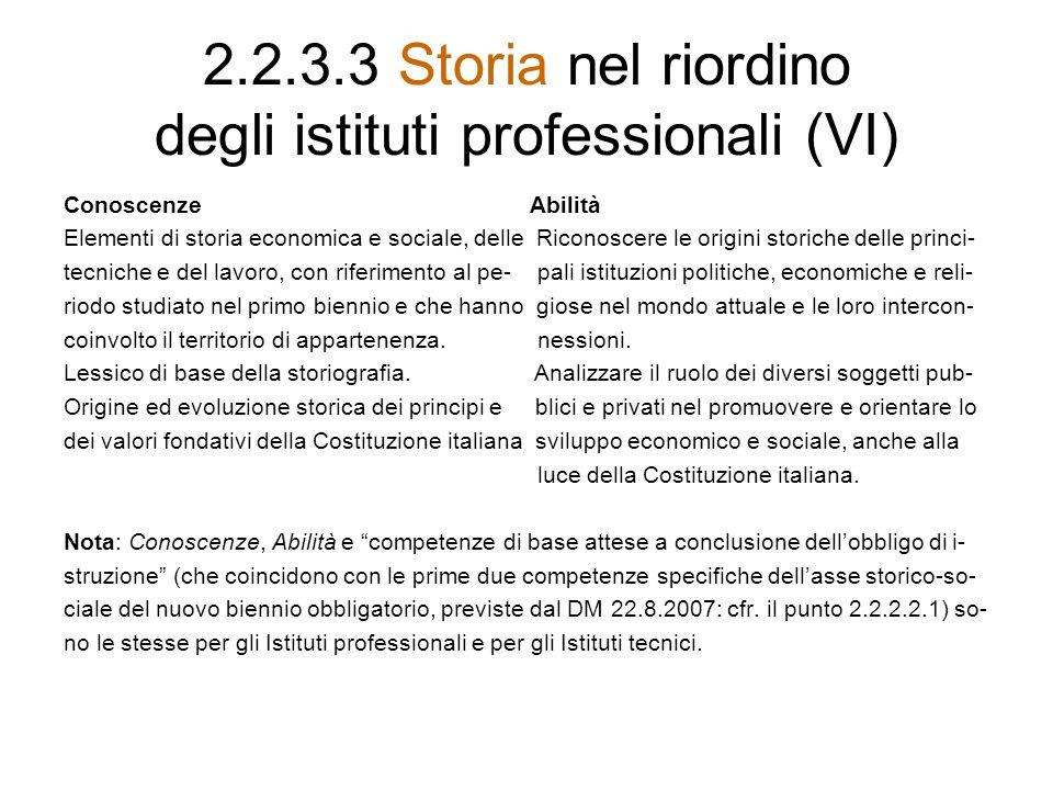 2.2.3.3 Storia nel riordino degli istituti professionali (VI) Conoscenze Abilità Elementi di storia economica e sociale, delle Riconoscere le origini