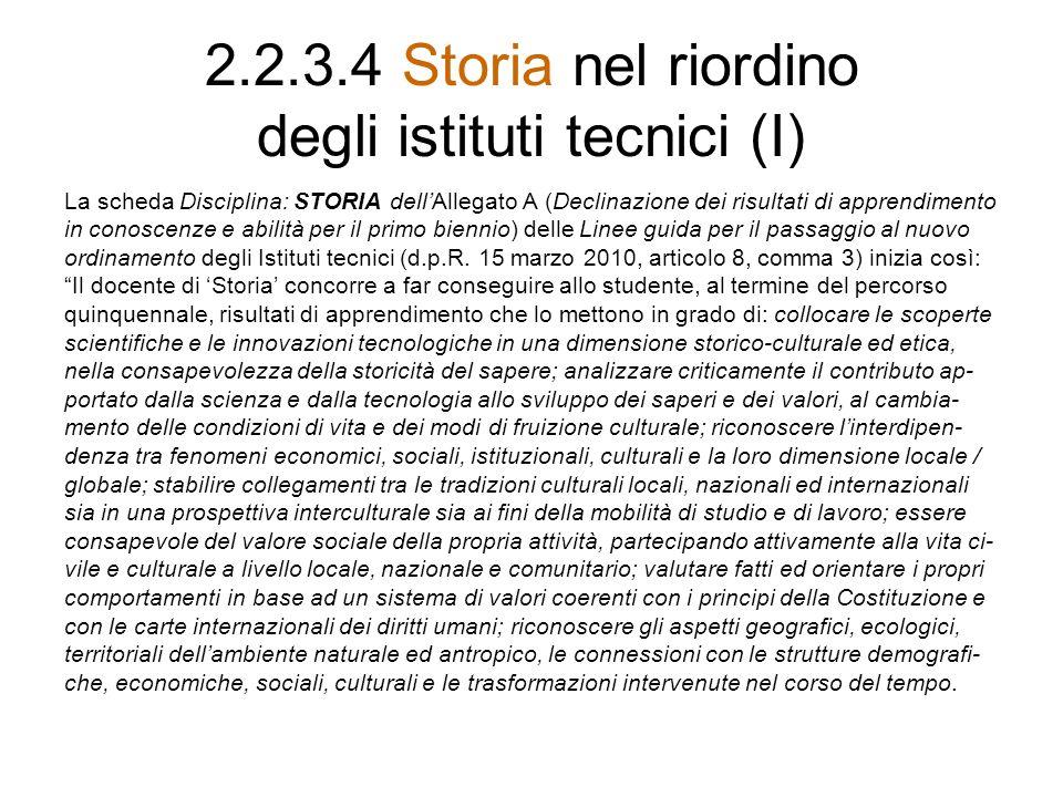 2.2.3.4 Storia nel riordino degli istituti tecnici (I) La scheda Disciplina: STORIA dellAllegato A (Declinazione dei risultati di apprendimento in con