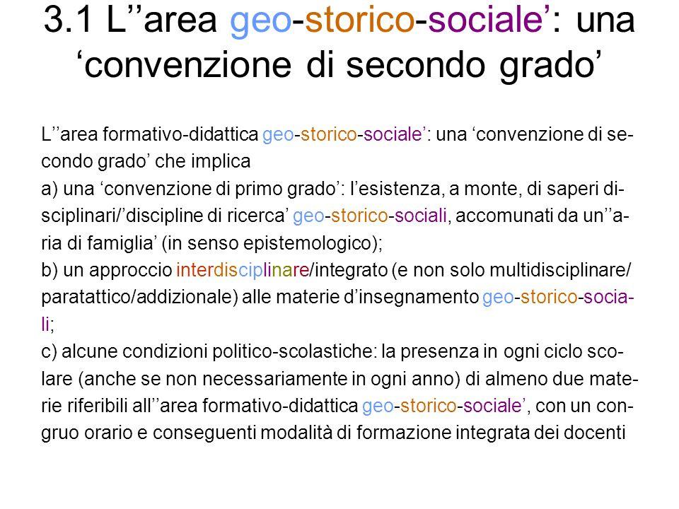 3.1 Larea geo-storico-sociale: una convenzione di secondo grado Larea formativo-didattica geo-storico-sociale: una convenzione di se- condo grado che