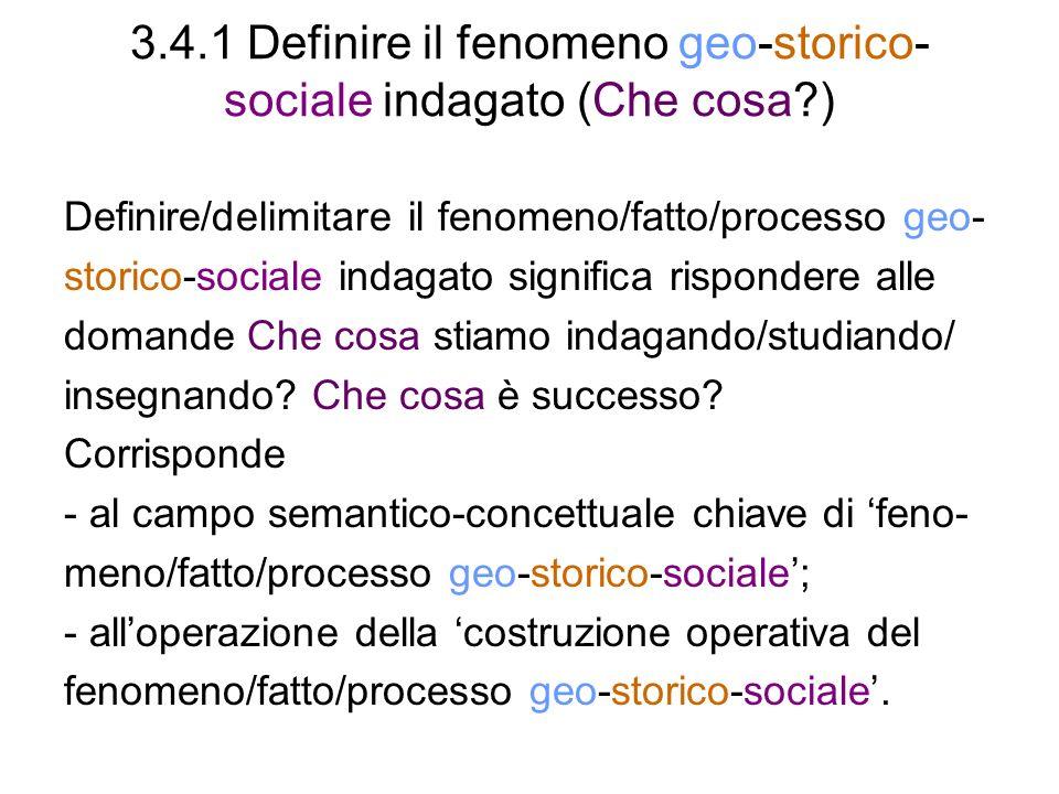 3.4.1 Definire il fenomeno geo-storico- sociale indagato (Che cosa?) Definire/delimitare il fenomeno/fatto/processo geo- storico-sociale indagato sign