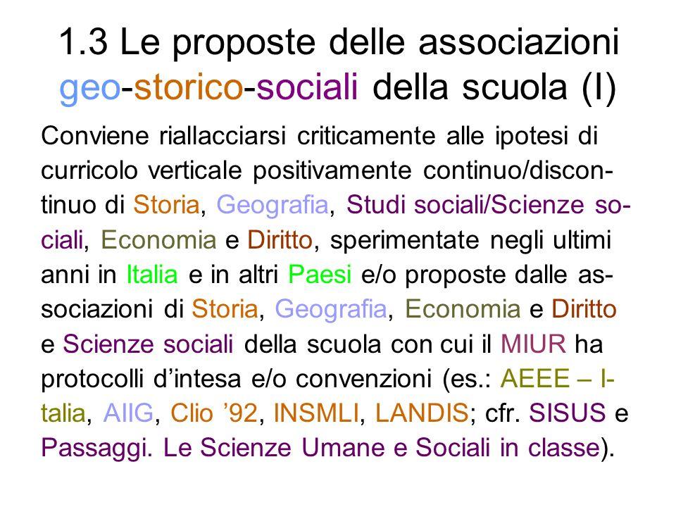 1.3 Le proposte delle associazioni geo-storico-sociali della scuola (I) Conviene riallacciarsi criticamente alle ipotesi di curricolo verticale positi