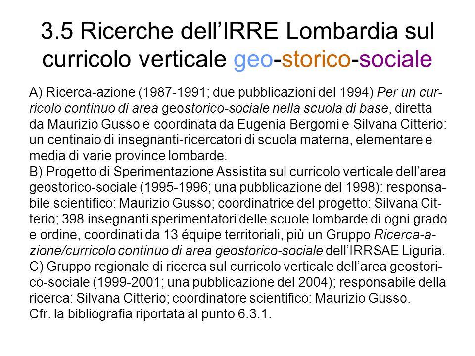 3.5 Ricerche dellIRRE Lombardia sul curricolo verticale geo-storico-sociale A) Ricerca-azione (1987-1991; due pubblicazioni del 1994) Per un cur- rico