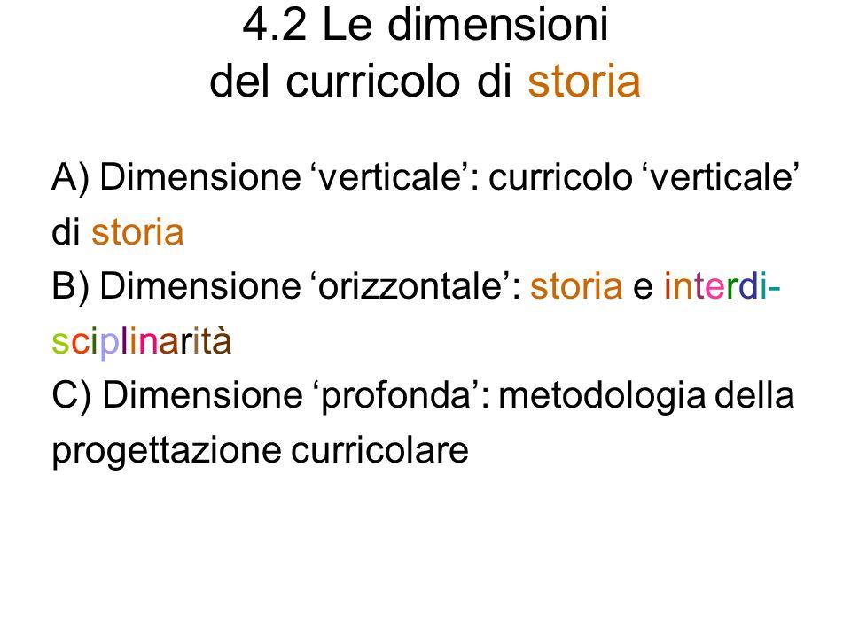 4.2 Le dimensioni del curricolo di storia A) Dimensione verticale: curricolo verticale di storia B) Dimensione orizzontale: storia e interdi- sciplina