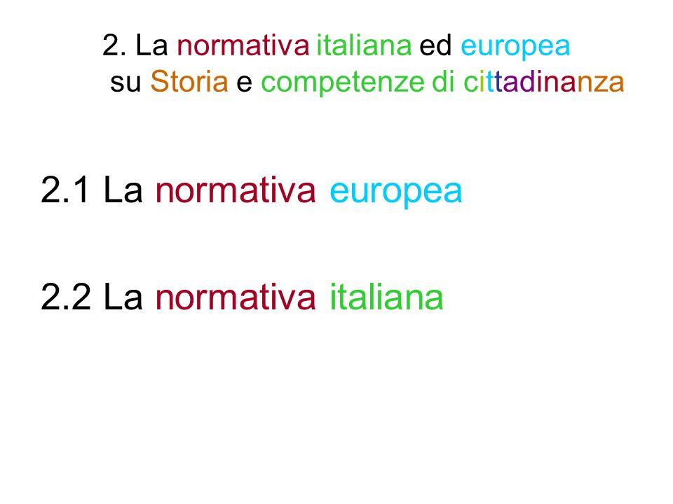 2.1 La normativa europea 2.1.1 La strategia di Lisbona 2.1.2 Le otto competenze chiave per lapprendimento per- manente previste dalla Raccomandazione del Parlamento europeo e del Consiglio del 18 dicembre 2006 2.1.3 Programmi e siti europei di Educazione alla cittadi- nanza democratica/attiva 2.1.4 Le raccomandazioni del Consiglio dEuropa a propo- sito dellinsegnamento della Storia 2.1.5 Alcune ricorrenze europee o promosse dallEuropa