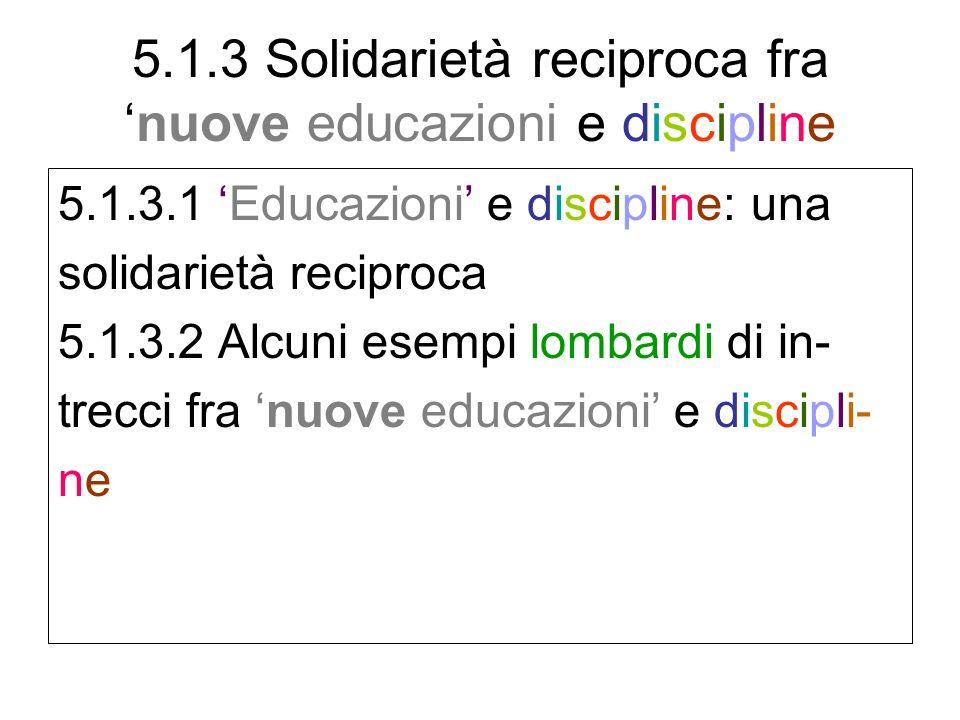 5.1.3 Solidarietà reciproca franuove educazioni e discipline 5.1.3.1 Educazioni e discipline: una solidarietà reciproca 5.1.3.2 Alcuni esempi lombardi