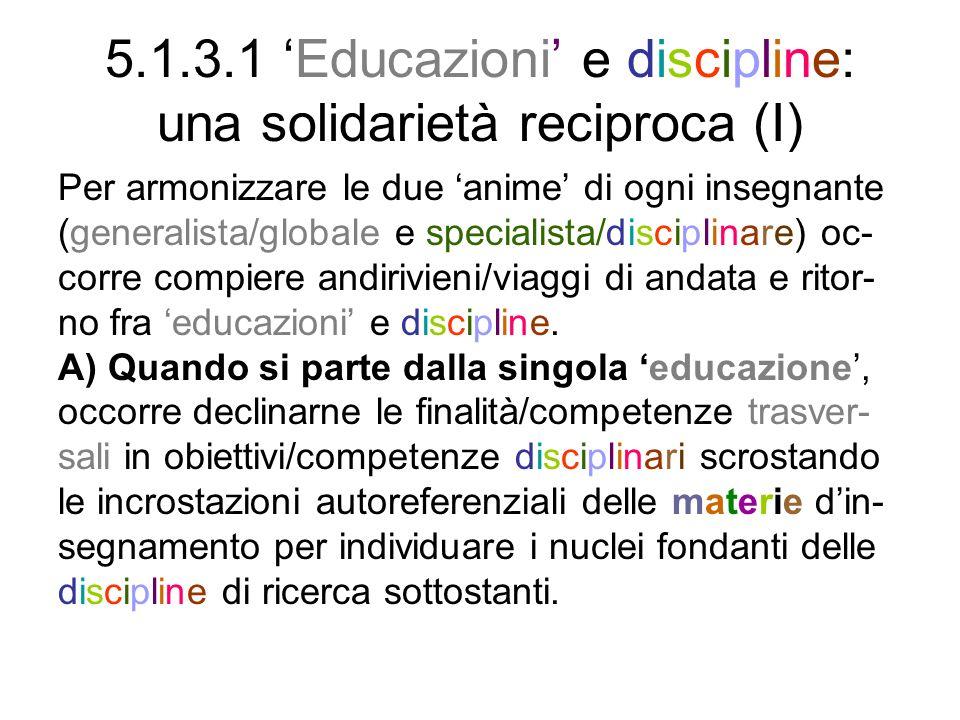 5.1.3.1 Educazioni e discipline: una solidarietà reciproca (I) Per armonizzare le due anime di ogni insegnante (generalista/globale e specialista/disc