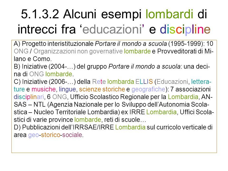 5.1.3.2 Alcuni esempi lombardi di intrecci fra educazioni e discipline A) Progetto interistituzionale Portare il mondo a scuola (1995-1999): 10 ONG /