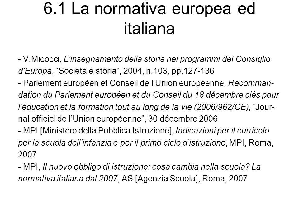 6.1 La normativa europea ed italiana - V.Micocci, Linsegnamento della storia nei programmi del Consiglio dEuropa, Società e storia, 2004, n.103, pp.12