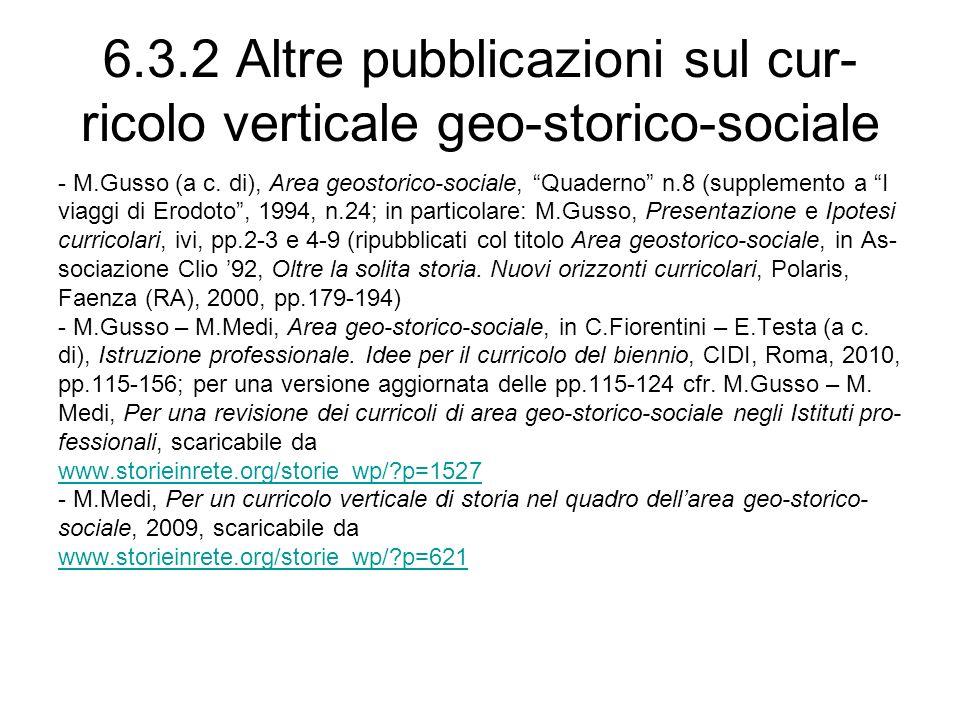 6.3.2 Altre pubblicazioni sul cur- ricolo verticale geo-storico-sociale - M.Gusso (a c. di), Area geostorico-sociale, Quaderno n.8 (supplemento a I vi
